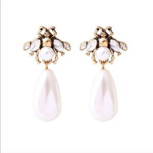 Jewelry - Honey Bee Pearl Drop Statement Earrings